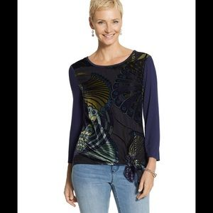 Chico's Beautiful Velvet Burnout Peacock Top